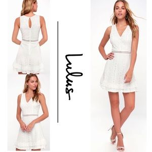 LOVE YOU ALWAYS WHITE LACE SKATER DRESS skirt XS
